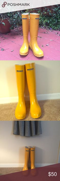 """Lands End Yellow Rain Boots Make a splash with these Lands End pull-on rubber rain boots. 16.5"""" high. Gently used, minor wear on bottoms. Comfortable removable insoles. The bright yellow adds a pop of color to any outfit on those rainy days. Lands' End Shoes Winter & Rain Boots"""