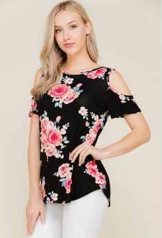 Criss Cross Back Floral Print Cold Shoulder Tunic Top (S-L) – Fiercely Flawless Boutique Cold Shoulder Blouse, Teenager Outfits, Classy Outfits, Criss Cross, Blouse Designs, Marie, Fashion Dresses, Tunic Tops, Plus Size