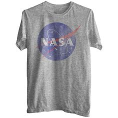 NASA Men's Graphic Tee - Heather Gray ($6.98) ❤ liked on Polyvore featuring mens, men's clothing, men's shirts, men's t-shirts, tops, shirts, t-shirts and t shirts