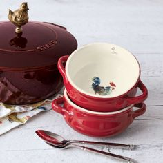 Shop Jacques Pépin Collection Double-Handle Rooster Bowl and more from Sur La Table! Collections Ect, Vegetable Painting, Jacque Pepin, Red Rooster, Kitchen Dishes, Kitchen Collection, Happy Marriage, Chicken And Vegetables, Bowl