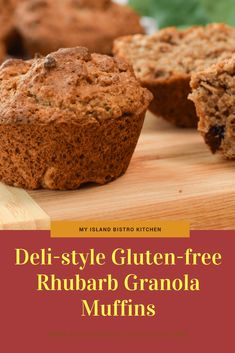 Deli-style Gluten-Free Rhubarb Granola Muffins - My Island Bistro Kitchen Cereal Recipes, Baking Recipes, Dessert Recipes, Gluten Free Baking, Gluten Free Recipes, Healthy Crockpot Recipes, Delicious Recipes, Muffins, Bistro Kitchen
