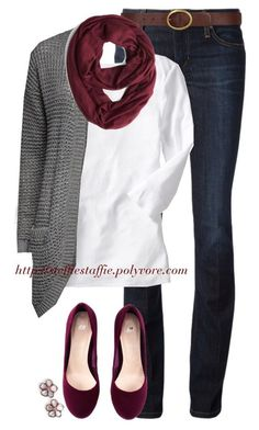 """""""Burgundy & Gray"""" by steffiestaffie ❤ liked on Polyvore featuring Joe's Jeans, Dorothy Perkins, Old Navy, H&M and ONLY"""