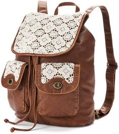 Mudd Barbara Floral Crochet Backpack (Brown)