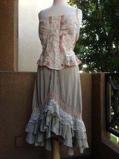 "MEDIUM, ""Sweet Cream Peasant""  Romance OOAK Shabby Chic Lace Floral 2 Piece Upcycled Skirt with Camisole Top"