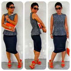 I so need to get on my sewing grind! Today's Look: DIY Peplum + DIY Pencil Skirt w/ Tut link Fashion Sewing, Diy Fashion, Love Fashion, Fashion Trends, Office Fashion, Fashion Ideas, Summer Outfits, Cute Outfits, Diy Outfits