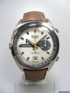 Heuer Carrera 1553 chronographe vintage calibre 15 cadran silver