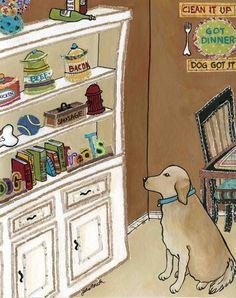 Gourmet Dog II ~ Jamie Morath Art art, mixed media, painting, original, print, hutch, food, golden retriever, dishes, dog, dogs, dog bones, treats, cats, cat box, clean, fire hydrant, books, book ends, kitchen, ding room