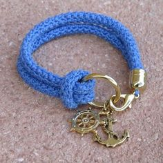 Items similar to Nautical bracelet, crochet, rudder and anchor - made to order on Etsy Rope Jewelry, Leather Jewelry, Jewelry Crafts, Beaded Jewelry, Jewelery, Beaded Bracelets, Cos Jewellery, Jewellery Shops, Vintage Jewellery