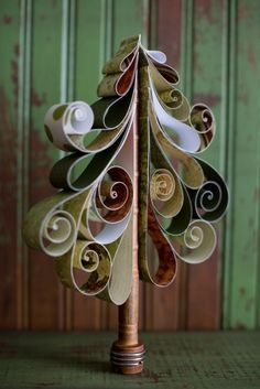 christmas, curly, handmade, holiday, paper, pine