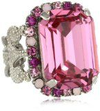 """Sorrelli """"Sweet Heart"""" Fancy Emerald Cut Shades of Pink Crystal Cocktail Adjustable Ring - http://clothing.wadulifashions.com/sorrelli-sweet-heart-fancy-emerald-cut-shades-of-pink-crystal-cocktail-adjustable-ring/"""
