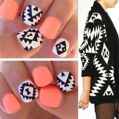 Aztec nail art + Cardigan