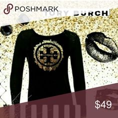 "NWOT Tory Burch Black & Gold Logo T Shirt. Size XS NWOT Tory Burch Black & Gold Logo T Shirt. Size Large. Excellent condition.   Bust: 17"" flat. Length is 23"". Sleeves 24. 100% cotton. Tory Burch Tops Tees - Long Sleeve"