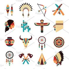 Illustration of Ethnic american idigenous tribal amulets and symbols icons collection with native feathers headdress abstract isolated vector illustration vector art, clipart and stock vectors. Native American Patterns, Native American Symbols, Native American Crafts, Native American Design, American Indian Art, Native American Indians, Native American Drawing, Native Symbols, Native American Tattoos