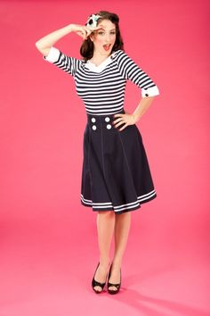 Miss Candyfloss - 50s Mollys Sailor Skirt Ahoy Navy
