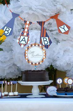 Baby Tie baby shower dessert backdrop