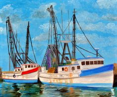 Bluffton Shrimp Boats Painting  - Bluffton Shrimp Boats Fine Art Print