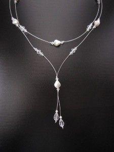 Karina Necklace - Bridal Swarovski Crystal Pearl Y...