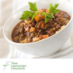 COZY UP WITH A BOWL OF HEALTHY CHICKEN LENTIL SOUP  Our chicken lentil soup recipe lets you warm up when it's cold out and still keep on track with your healthy eating plan.  Click here for the recipe: http://www.tlcsurgery.com/recipes/chicken-and-lentil-soup