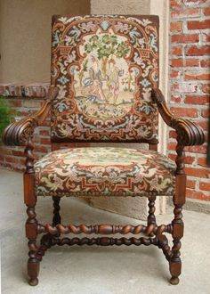 Antique French Carved Oak Barley Twist Fireside Arm Chair Needlepoint | eBay