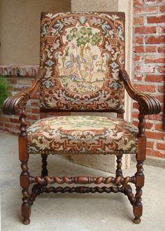 Antique French Carved Oak Barley Twist Fireside Arm Chair Needlepoint | eBay