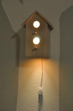 handmade wood birdhouse lamp :: nursery decor #modern #birds