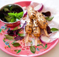 Chicken kebab in peanutbutter & cocunut milk sauce