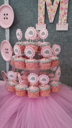 Pink and Gray Elephant Cupcakes for Baby Shower