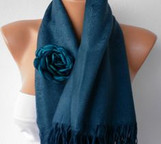 Navy Blue Pashmina Shawl  Scarf by fatwoman on Etsy, $24.00