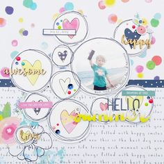 I like the doodle circle frames to anchor the main photo and the embelisments Scrapbook Layout Sketches, Scrapbooking Layouts, Digital Scrapbooking, Scrapbook Storage, 12x12 Scrapbook, Scrapbook Frames, Make A Photo Collage, Mini Albums, Candy Cards
