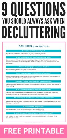 Declutter Binder Printables – Get Organized + Love Your Home - Home Cleaning Hacks Deep Cleaning Tips, House Cleaning Tips, Spring Cleaning, Cleaning Hacks, Bedroom Cleaning, Cleaning Lists, Hacks Diy, Getting Rid Of Clutter, Getting Organized