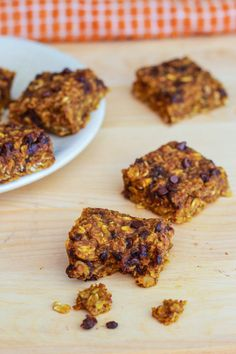 Pumpkin Chocolate Chip Oatmeal Bars. All of your favorite fall flavors in one healthy pumpkin oatmeal square. Plus, there's chocolate.