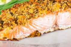 Parmesan and Almond Crusted Salmon #healthy #recipe