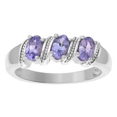 Journee Collection Sterling Silver Tanzanite 3-stone Ring ($38) ❤ liked on Polyvore featuring jewelry, rings, jewelry & watches, purple, sterling silver band rings, band rings, oval stone ring, sparkle jewelry and 3 stone oval ring
