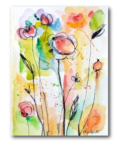 Love this Watercolor Flowers Gallery-Wrapped Canvas by COURTSIDE MARKET on #zulily! #zulilyfinds