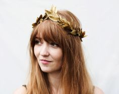 Gold Leaf Headband. Gold Leaf Crown, Mardi Gras, Headpiece, Greek, Gold Crown, Greek Wedding, Greek Goddess, Hair Wreath, Gold Leaves, Crown