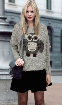 Knit Scoop Loose Pattern Owl Long Sleeves Sweater