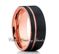 Black Rose Gold,Tungsten Ring,Offset Groove,Comfort Fit Ring