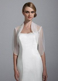 Light and airy, this sheer tulle 3/4 sleeve jacket in the perfect classic accessory!  Sheer tulle jacket features stunning ruched neckline.  3/4 sleeve provides just the right amount of coverage.  Imported. Dry clean.