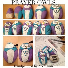 PRAYER OWLS! I made these prayer rocks specifically for my Primary CTR4 class. I chose an owl because owls come out at night so they pull their owls out to remember to pray at night for Heavenly Fathers protection. -AceMamii