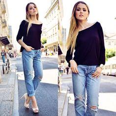 Kristina Bazan - Navyboot Heels, H&M Jeans - BOYFRIEND JEANS