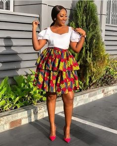 Items similar to African Print Double Flare Mini Skirt/Ankara Skirt/African Clothing/African Fashion/African print maxi skirt on Etsy African Lace Styles, African Print Dresses, African Print Fashion, African Fashion Dresses, African Dress, African Prints, Africa Fashion, Native Fashion, African Clothes