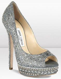 Rhinestone Silver Jimmy Choo High Heels