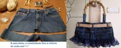 Re purposed jeans .handbag made to look like a skirt -cute. (No tutorial) Denim Bag, Denim Shorts, Denim Crafts, Tied Shirt, How To Make Handbags, Beautiful Bags, Sewing Clothes, Jeans Style, Stylish