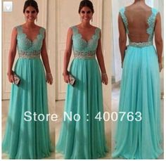 Wonderful Sweetheart Lace Top Nude Back  Chiffon Mint green Long Prom Dresses $128.00