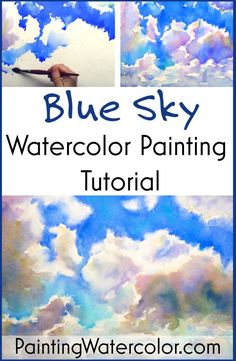 Blue Sky Watercolor Painting Tutorial (with YouTube video) by Jennifer Branch #BlueSky