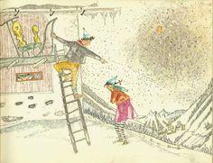 Selina Chönz, Der grosse Schee. (Um 1950).  Illustr. Alois Carigiet.  Zürich : Schweizer Spiegel Verlag. Hans Christian, Art And Illustration, Illustrator, Golden Age, Childrens Books, Bologna, Paintings, Vintage, Illustrators