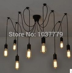63.60$  Watch here - http://ai2ko.worlditems.win/all/product.php?id=32313210623 - 8-arm Mordern Nordic Retro Edison Bulb Pendant chandelier Vintage Loft Antique Adjustable E27 Art Spider Ceiling Lamp Fixture