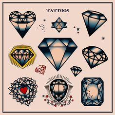 Diamond Tattoos in Traditional Vintage Style. Flash, Sailor Jerry, Body, Ink, Skin, Symbol, Decorative, Criminal, Permanent, Blood. Vector Illustration. Clipart Image. EPS, SVG, PDF, JPG, PNG files.