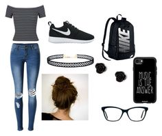 """High School"" by sarahelizabethdye on Polyvore featuring WithChic, Miss Selfridge, NIKE, LULUS, claire's and Casetify"