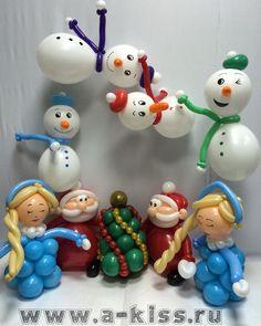 Sweet Christmas scene with Santa and balloon snowmen.